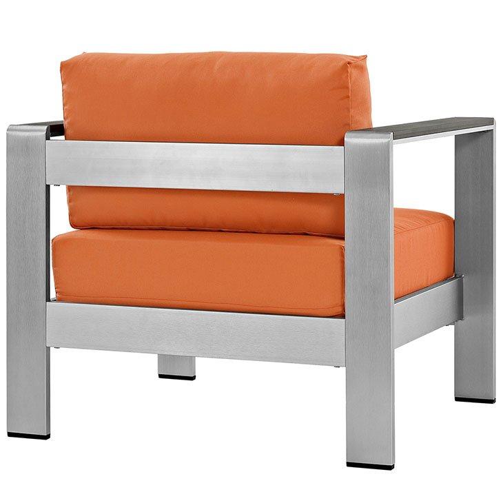 Aluminum Patio Chair with Orange Cushion Rear View