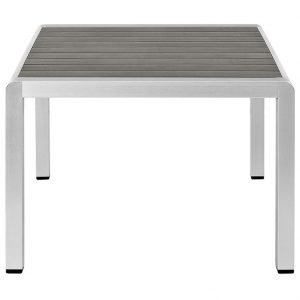 Brushed Aluminum Table with PolyWood Planks