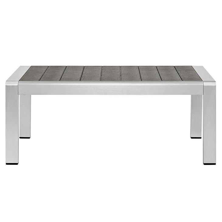 Brushed Aluminum Metal Coffee Table