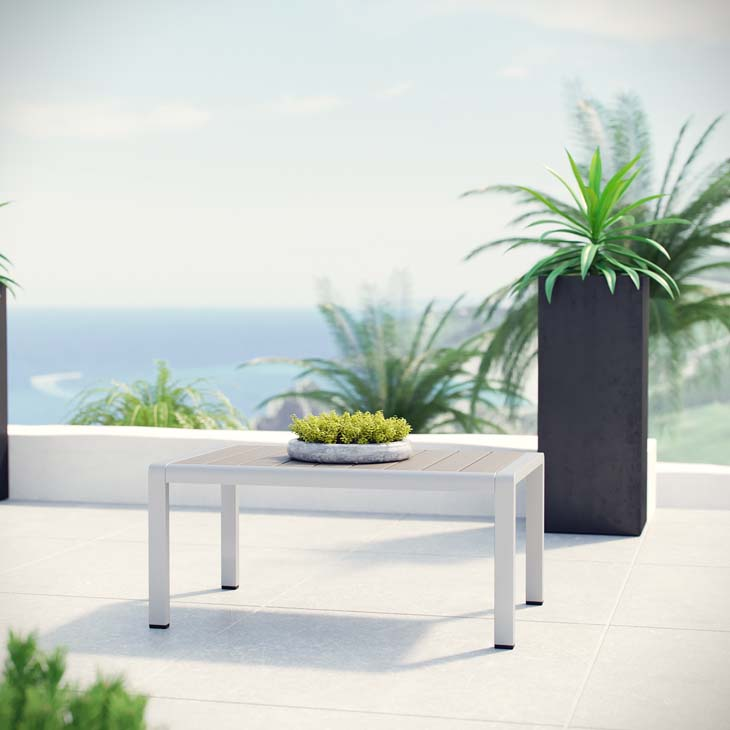 Patio Coffee Table in Brushed Aluminum