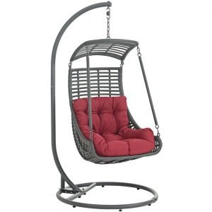 Outdoor patio swing chair with Red Cushion with Stand
