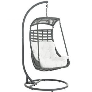 Outdoor patio swing chair with White Cushion with Stand
