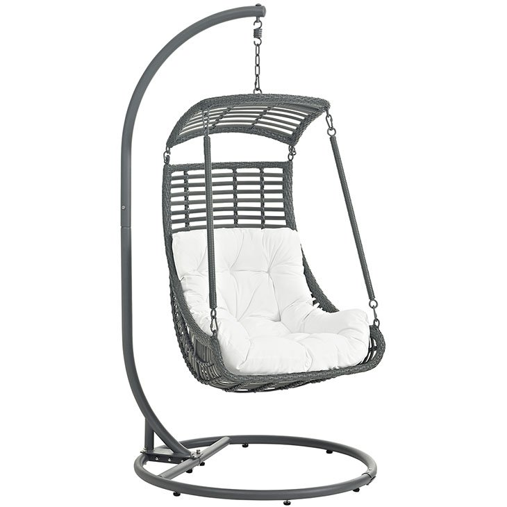 Outdoor Patio Swing Chair With Stand In White