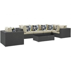 Rattan Sofa Sectional Set with Beige Cushions