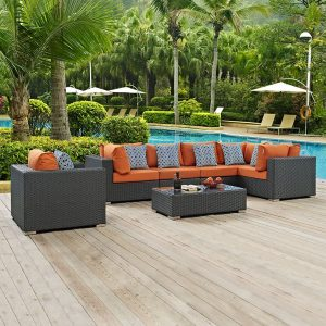 Rattan Sofa Sectional Set with Orange Cushions and Blue Outdoor Pillows