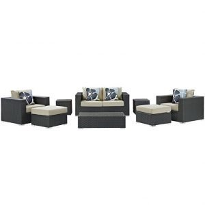 8 piece outdoor patio sunbrella sectional set in canvas antique beige