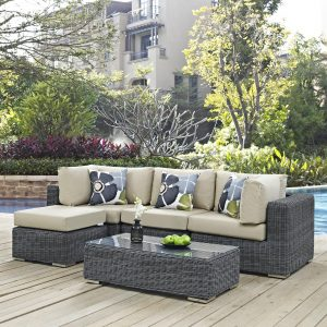 5 Piece Outdoor Patio Sunbrella® Sectional Set in Canvas Antique Beige cushions EEI-2398