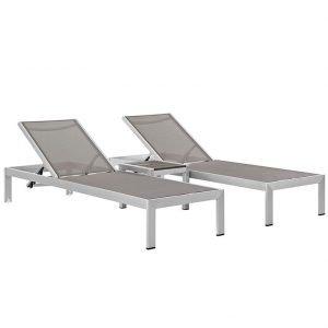 Silver Mesh Chaise Set