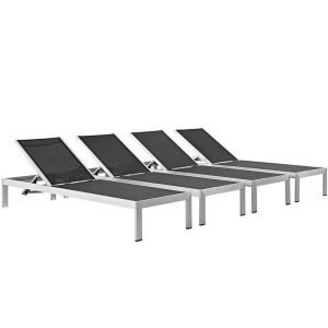Chaise Outdoor Patio Aluminum Set of 4 in Silver Black EEI-2473