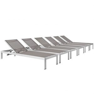Gray Chaise Lounge Set of 6