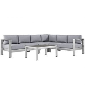 Gray Patio Sofa Set in Brushed Aluminum