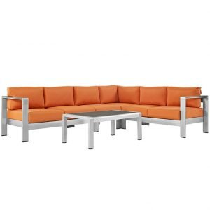 Outdoor Patio Sofa Set with orange canvas cushions