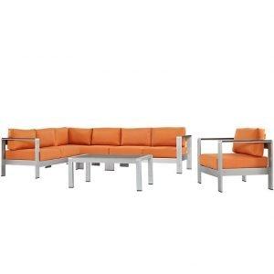 Outdoor Aluminum Sofa Set with Orange Cushions