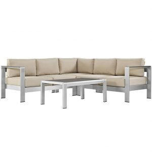 4 piece aluminum patio set with beige cushions
