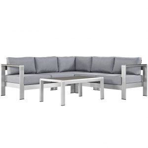 4 piece aluminum patio set with gray cushions