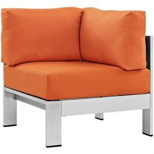 Brushed Aluminum Corner Chair in Orange