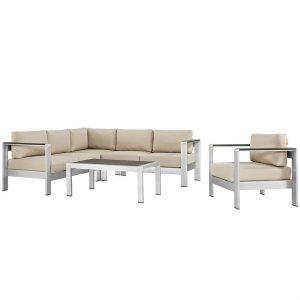 Aluminum Sofa Sectional in Beige