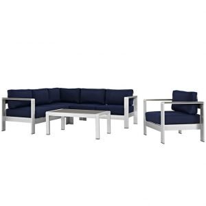 5 piece aluminum patio set with navy blue cushions