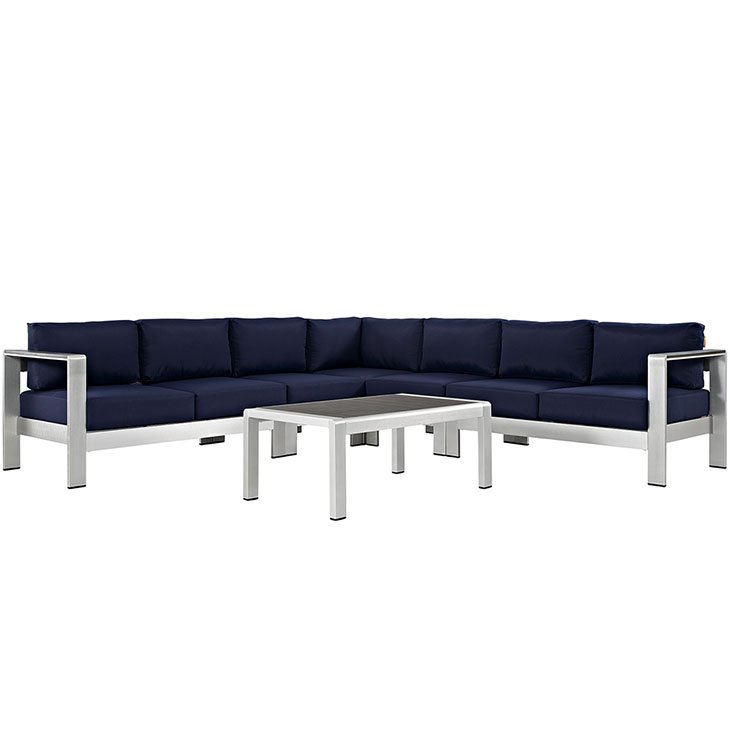 Aluminum Patio Furniture Sectional Navy Cushions