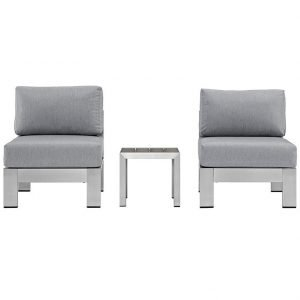 Aluminum Patio Armless Chair with Gray Cushions