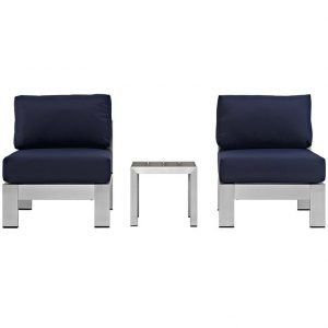 Aluminum Patio Armless Chair with Navy Cushions