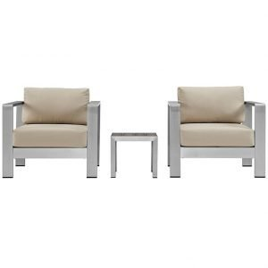 Aluminum Patio Chair set with Beige Cushions