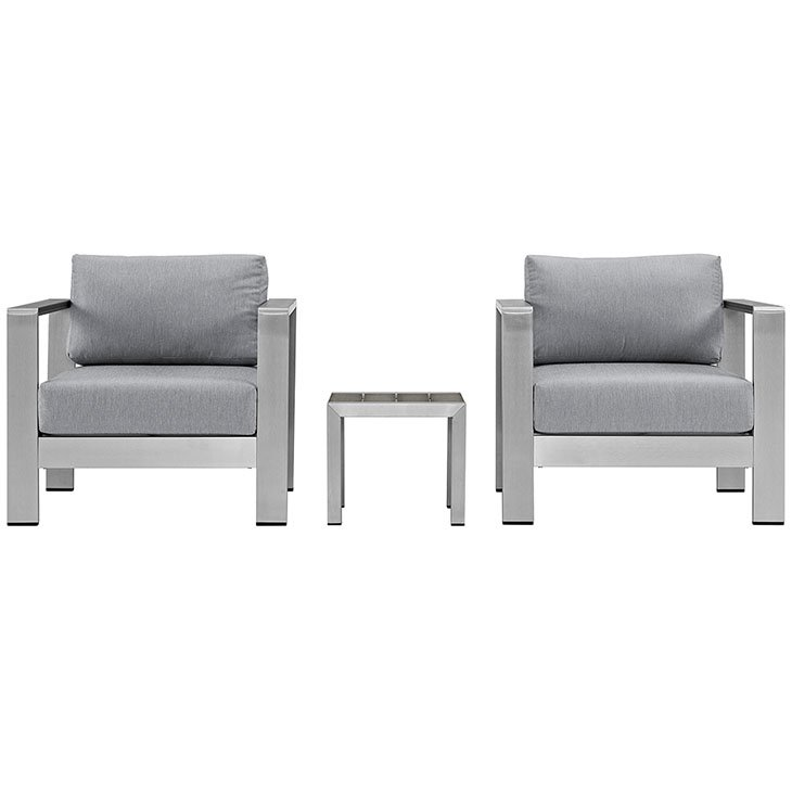 Aluminum Patio Chair set with Gray Cushions