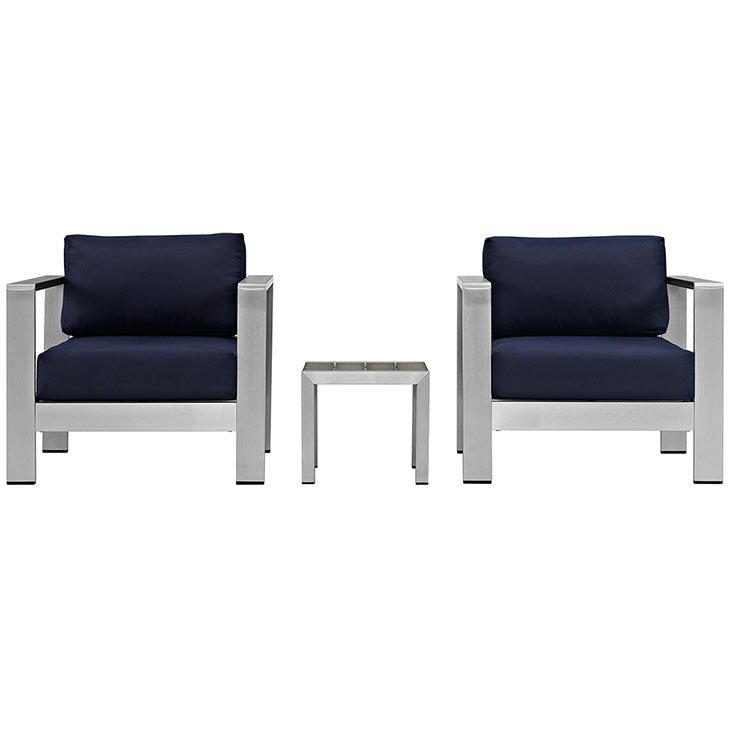 Aluminum Patio Chair set with Navy Blue Cushions