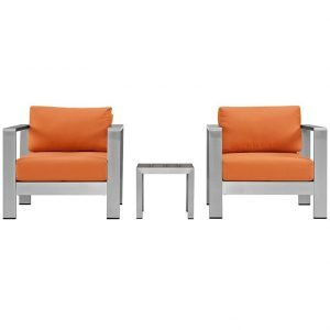 Aluminum Patio Chair set with Orange Cushions