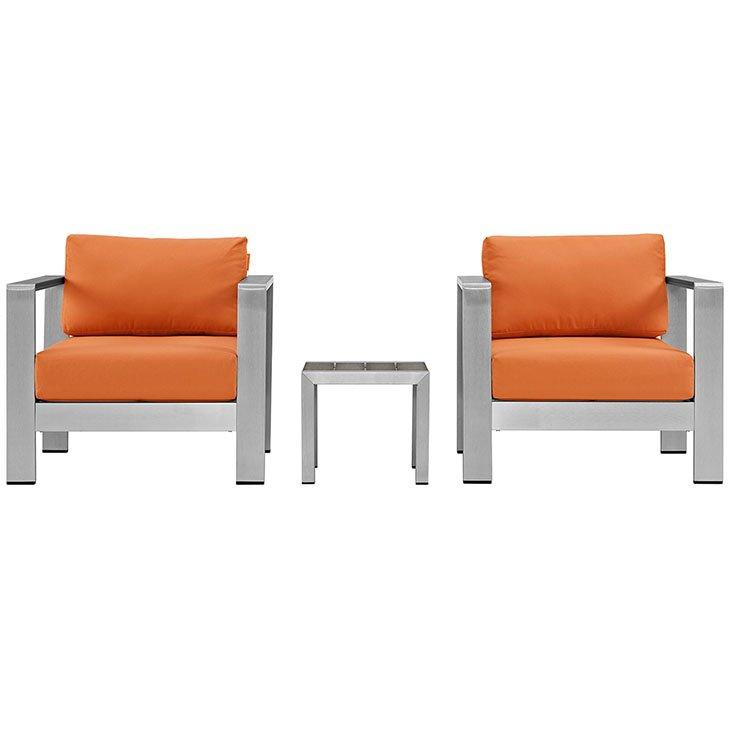 Aluminum Patio Chair set with Orange Cushions