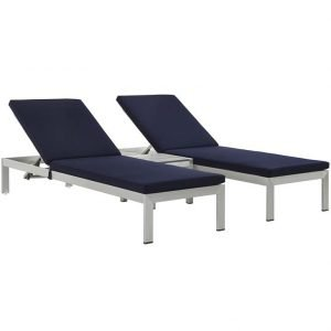 Patio Chaise Lounge Set in Navy