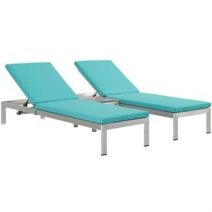 Patio Chaise Lounge Set in Turquoise