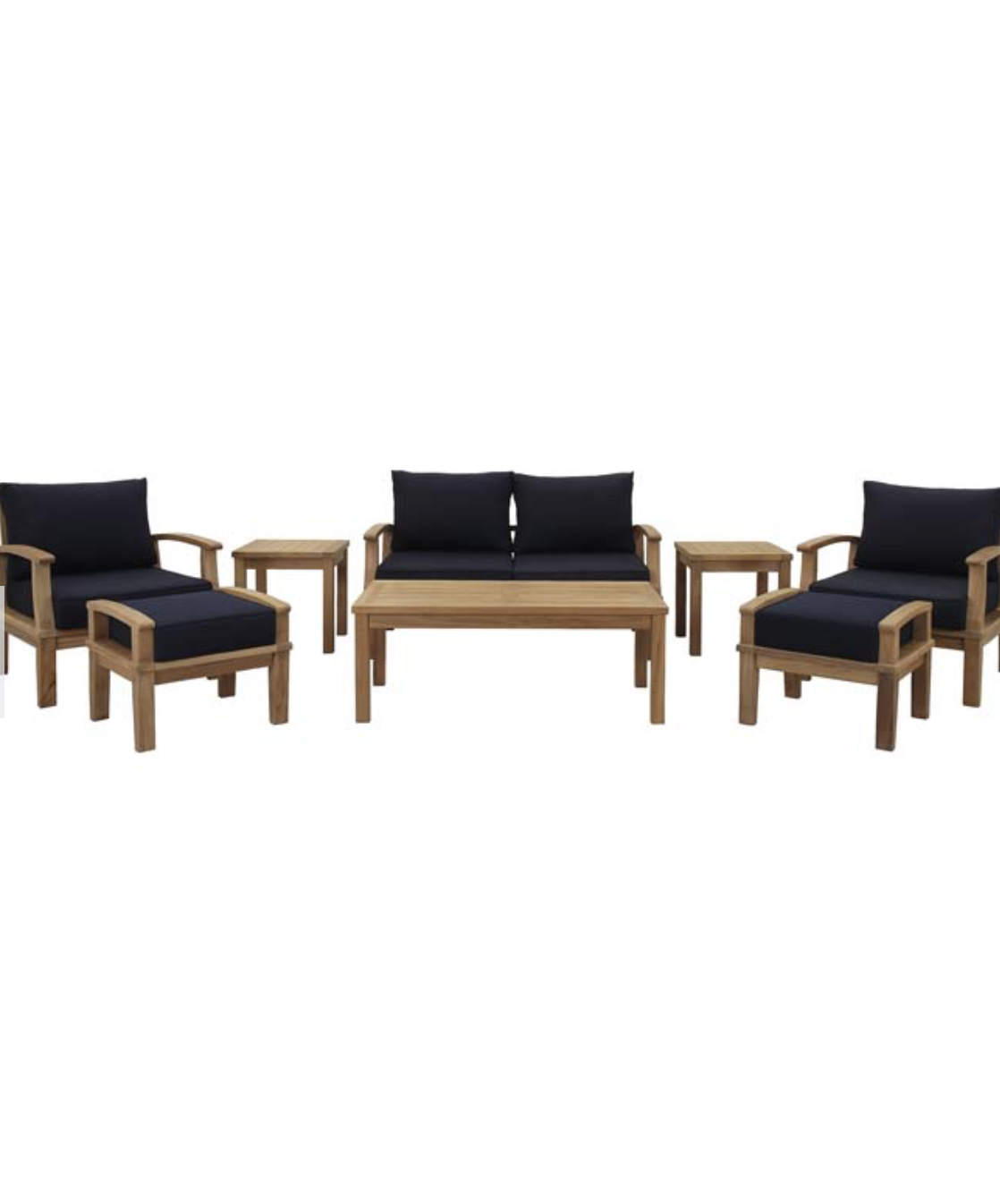 8 Piece Teak Patio Set In Navy