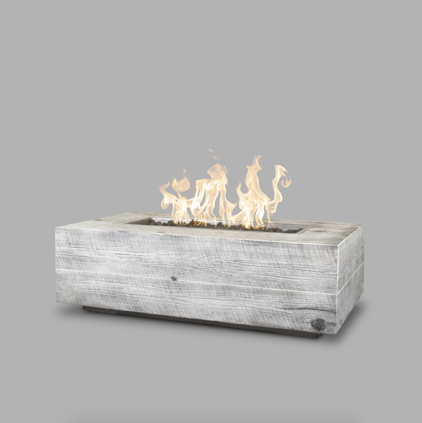 Wood Grain Cement Fire Pit