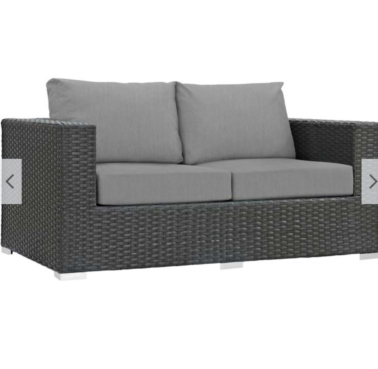 Rattan Loveseat with Gray Cushions - Rattan Patio Sunbrella® Loveseat - Patio Furniture Co