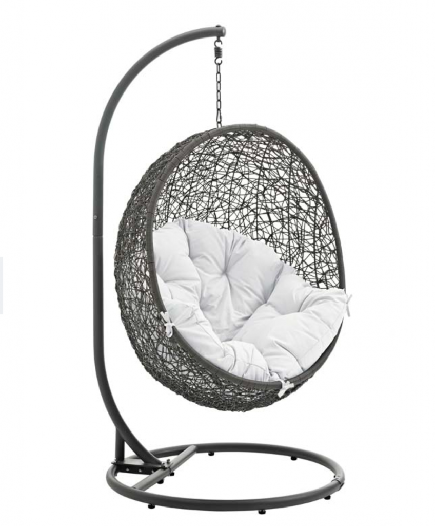 Gray Hanging Chair with White Cushion