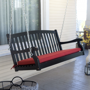 4 ft Black Acacia Wood Porch Swing