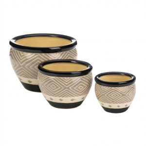 Black Trim Ceramic Planter Pots