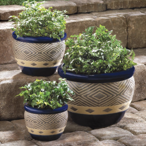 Cobalt Blue Ceramic Planter Set