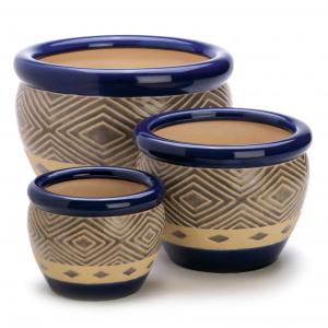 Cobalt Blue Ceramic Pot Set of 3