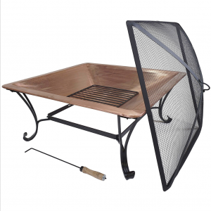 Square Copper Fire Pit with Spark Screen and Poker