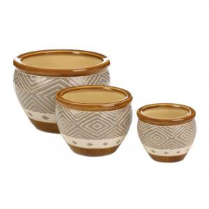 Earth-Tone Ceramic Planter Pots