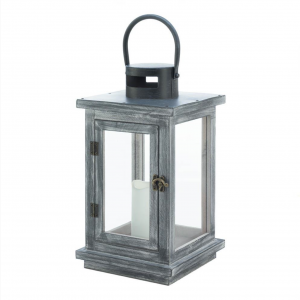 Gray Washed Candle Lantern with LED Candle