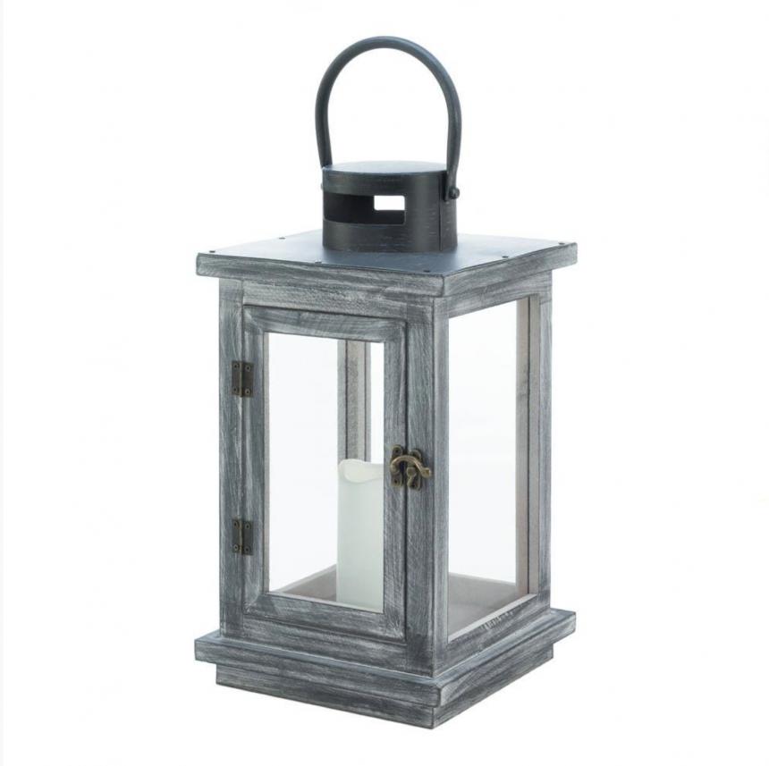 Gray Washed Candle Lantern with LED Candle