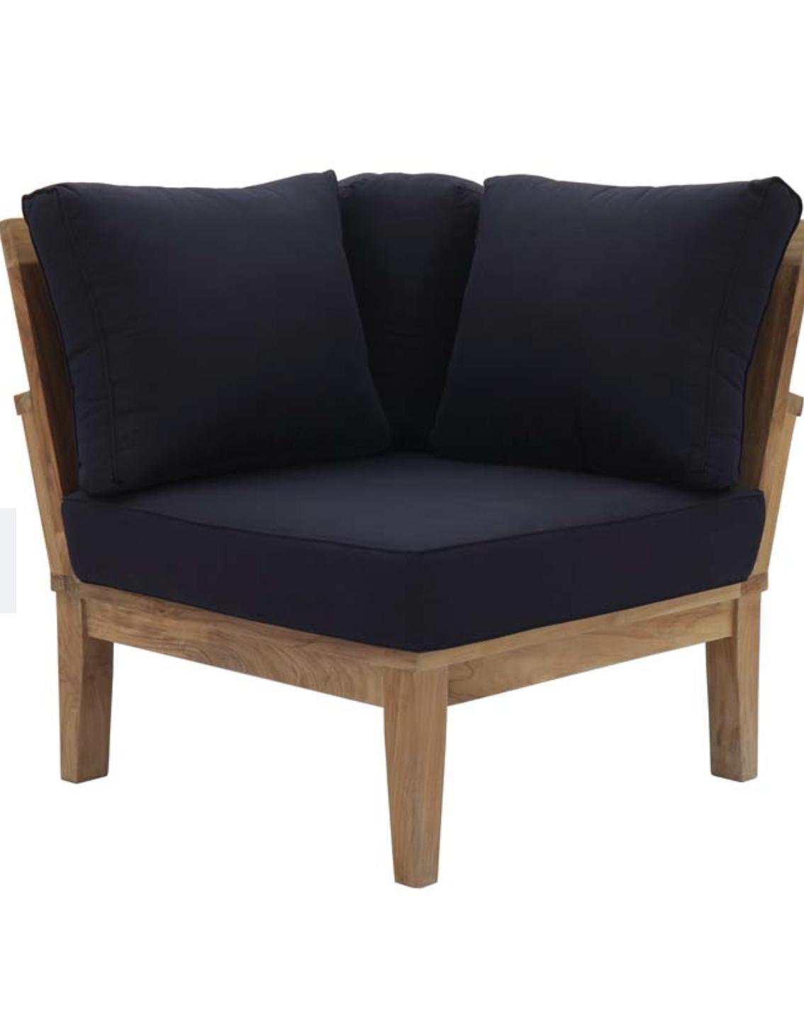 Etonnant Teak Sofa Set Corner Seat Navy Blue