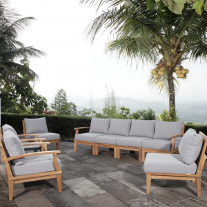8 PIECE OUTDOOR PATIO TEAK SET IN NATURAL GRAY