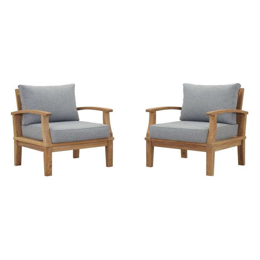 Teak Armchair Set in Gray