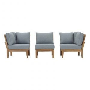 3 PIECE OUTDOOR PATIO TEAK SET IN NATURAL GRAY