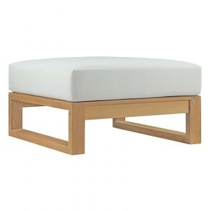OUTDOOR PATIO TEAK OTTOMAN IN NATURAL WHITE