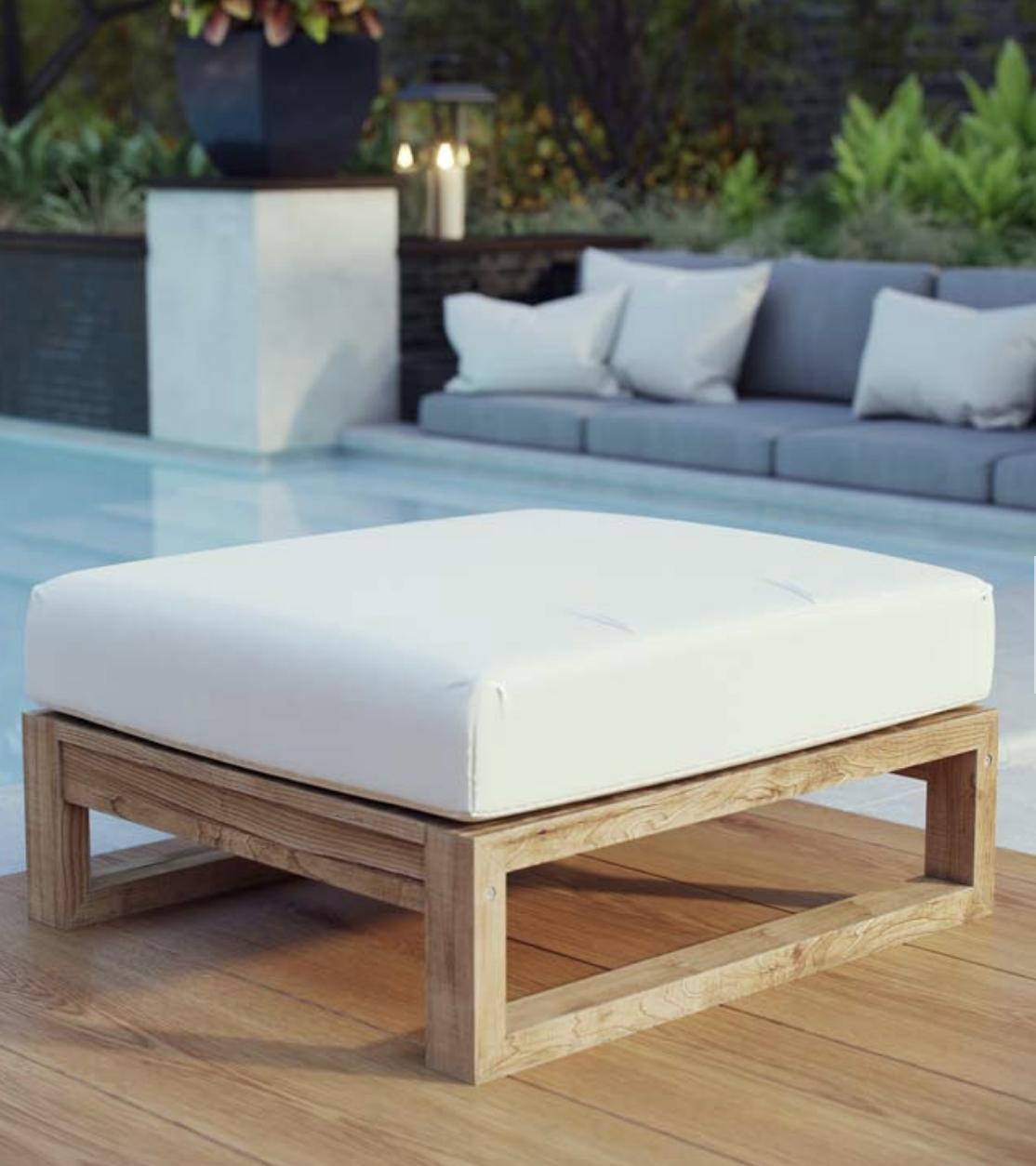 OUTDOOR PATIO TEAK OTTOMAN IN NATURAL WHITE - Teak Ottoman Outdoor Patio Ottoman Outdoor Patio Furniture